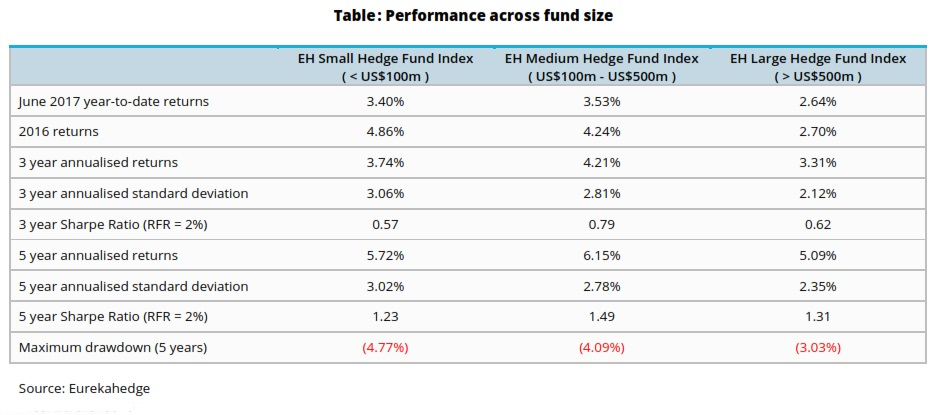 risk attrtibutes by fund size ytd 2017